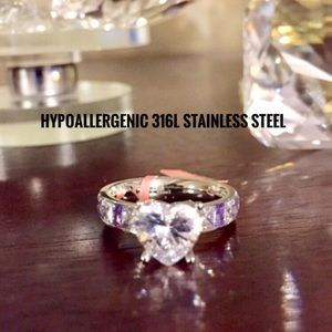 Jewelry - Ring:🔥was $43 Purple and white CZ stainless steel